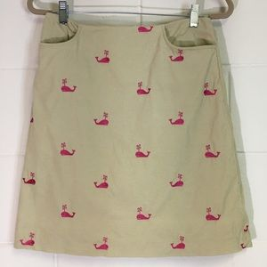 Lilly Pulitzer Tan Corduroy Skirt With Pink Whales